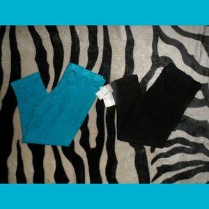 Lace Leggings Bundle Blue Lace & Black Lace Leggin